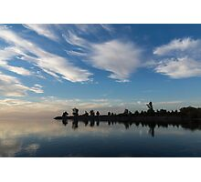 Blue and White Serenity - a Lakefront Stillness Photographic Print