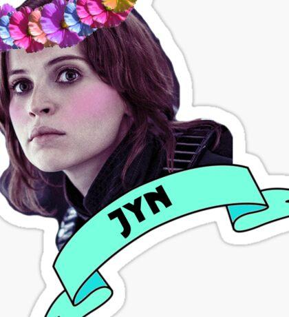 Jyn wearing a flower crown Sticker