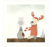 Frido am Feuer Art Print