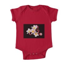 Yellow, Pink, and White Plumeria on Black One Piece - Short Sleeve