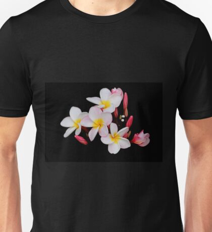 Yellow, Pink, and White Plumeria on Black Unisex T-Shirt