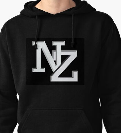 NZ letters New Zealand white on black Pullover Hoodie
