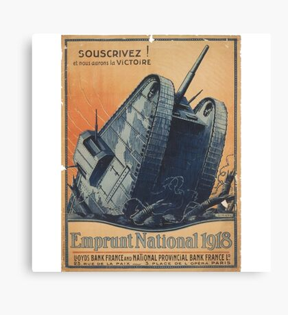French Tank WWI Recruitment Poster Canvas Print