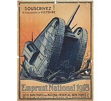 French Tank WWI Recruitment Poster Photographic Print