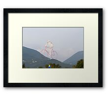 colorful kites bicycle  flying in the sky Framed Print