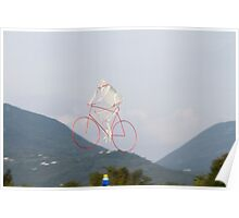 colorful kites bicycle  flying in the sky Poster