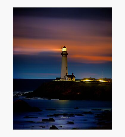Pigeon Point Lighthouse Shining Light into the Darkness Photographic Print