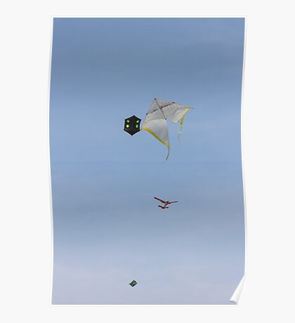 colorful kites flying in the sky Poster