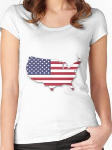 America Map Women's Fitted Scoop T-Shirt