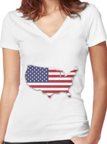 America Map Women's Fitted V-Neck T-Shirt