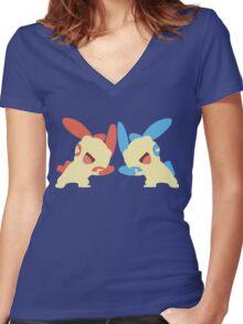 Plusle & Minun Minimalist Women's Fitted V-Neck T-Shirt