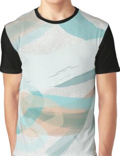 Big Bold Teal and Peach Brush Strokes Graphic T-Shirt