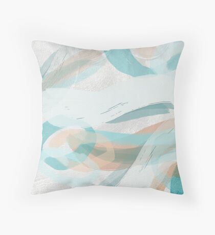 Big Bold Teal and Peach Brush Strokes Throw Pillow