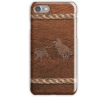 Rodeo Theme - Calf Roping, Leather & Rope iPhone Case/Skin