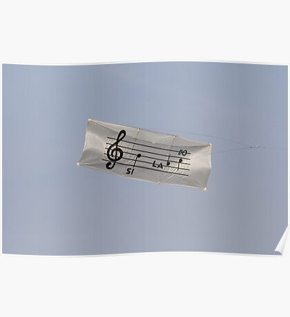 colorful kites music flying in the sky Poster