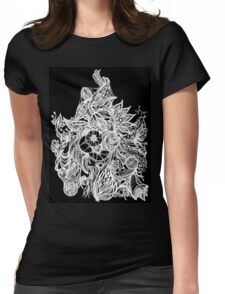 Zen Doodle 3A Black White Glow Womens Fitted T-Shirt