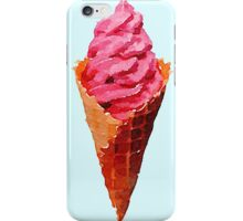 Strawberry Ice Cream Summer Trendy Pink Pastel Sweet Watercolor iPhone Case/Skin