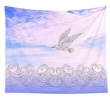 zen bird and waves Wall Tapestry
