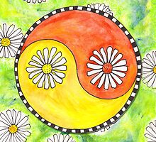 Yin and Yang Daisies in a Field by dendryad
