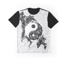 Zen Doodle Yin Yang Black Ink Ornate Graphic T-Shirt