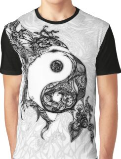 Zen Doodle Yin Yang Black Ink Ornate Graphic T-Shirt