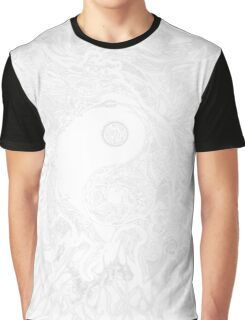 Zen Doodle Yin Yang Snow White Ornate Graphic T-Shirt