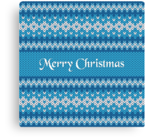 Merry Christmas Greeting Card on Winter Geometric Ornament Pattern Background in Blue and White from Knitted Fabric with Words Canvas Print