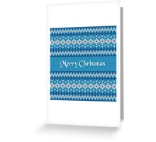 Merry Christmas Greeting Card on Winter Geometric Ornament Pattern Background in Blue and White from Knitted Fabric with Words Greeting Card