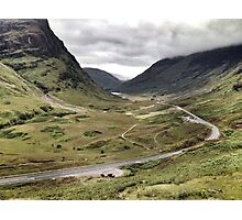 The A82 road sweeps through Glencoe, Highlands of Scotland Photographic Print