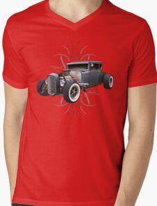 Pinstripe Hot Rod Mens V-Neck T-Shirt