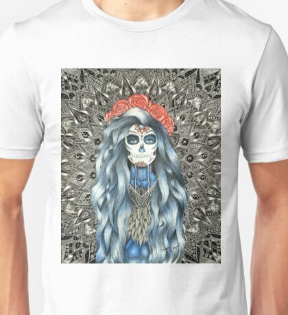 Full Page Day of the Dead Woman Mandala Unisex T-Shirt