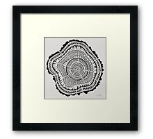 Tree Rings – Black on White Framed Print