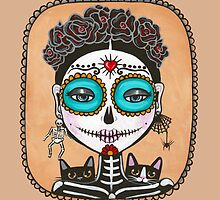 Day of the Dead Girl with Cats by Ryan Conners