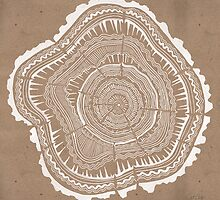 Tree Rings – White Ink on Kraft by Cat Coquillette