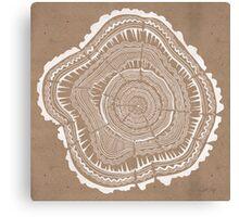Tree Rings – White Ink on Kraft Canvas Print