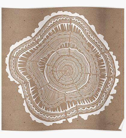 Tree Rings – White Ink on Kraft Poster