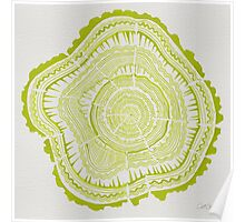 Chartreuse Tree Rings Poster