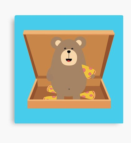 Brown Bear in Pizzabox Canvas Print