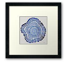 Navy Tree Rings Framed Print
