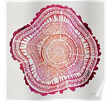 Tree Rings – Red Watercolor Poster
