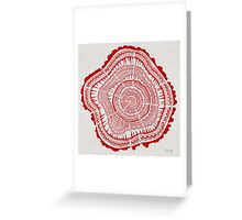 Red Tree Rings Greeting Card