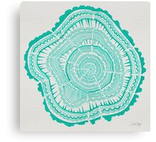 Turquoise Tree Rings Canvas Print