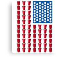 Beer Pong Drinking Game American Flag Beer T Shirts Funny Canvas Print