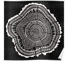 Woodblock Tree Rings Poster