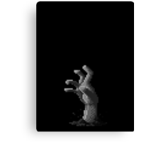 Zombie Grasp Pixels Black and White Canvas Print