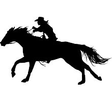 Rodeo Theme - Barrel Racer Silhouette Photographic Print