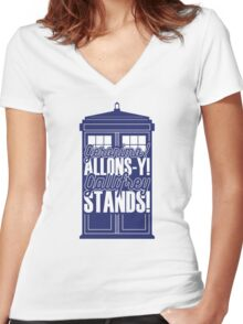 """Doctor Who - """"Geronimo! Allons-y! Gallifrey Stands!"""" Women's Fitted V-Neck T-Shirt"""