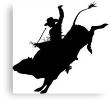 Rodeo Theme - Bucking Bull Silhouette Canvas Print