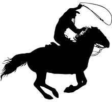 Rodeo Theme - Calf Roping Silhouette Photographic Print