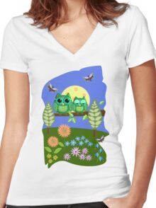 Cute Owls in Fantasy Summer Land Women's Fitted V-Neck T-Shirt